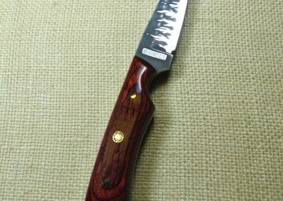 29 Dymondwood handle knife with flame etching on blade