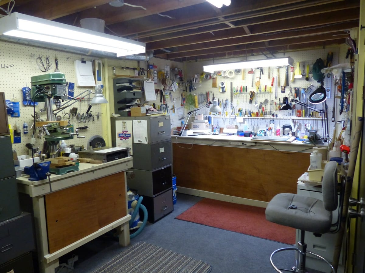 wide view of knife making shop