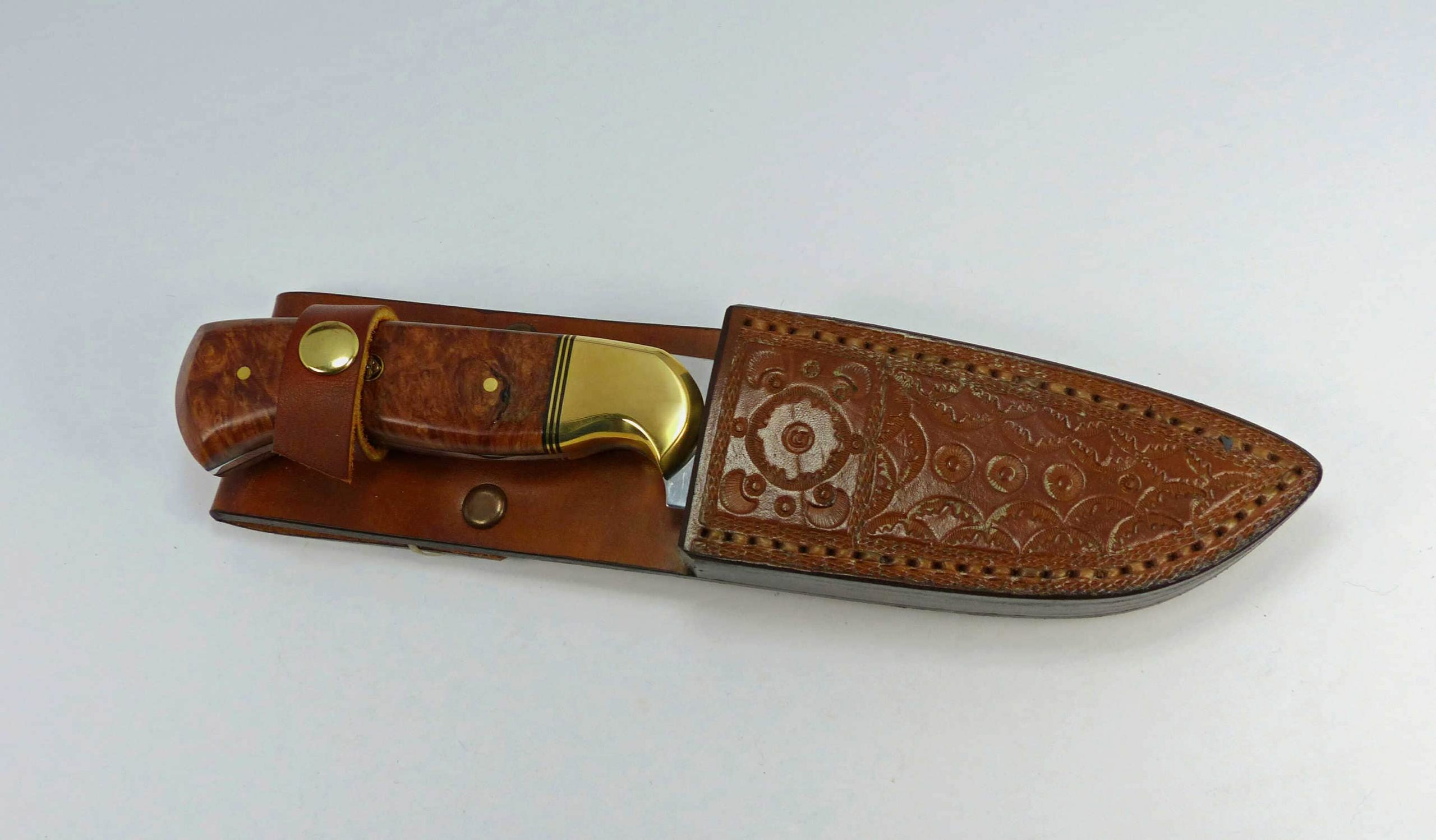 S6 - Burled elm knife with custom welted and fitted leather sheath
