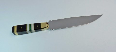 Bowie style blade with African blackwood handle with embellishments