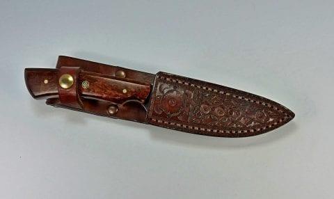 Beautiful walnut burl hunting knife and matching leather sheath
