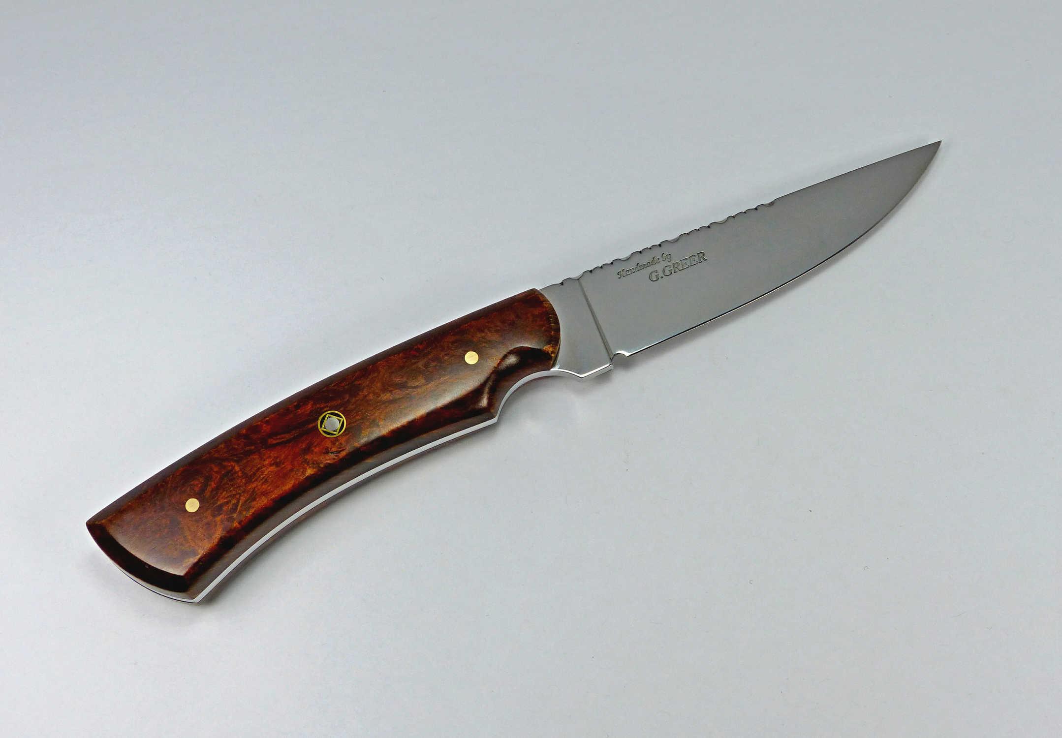 W-8 Walnut Burl Hunting Knife with drop point blade