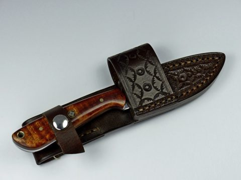 Curly Koa everyday carry knife and sheath