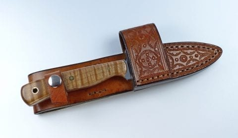 E7 Brown EDC knife inside handmade leather cross draw sheath