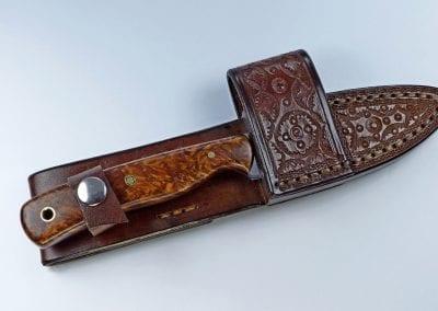 E8 - Burled elm EDC knife inside custom designed cross draw sheath