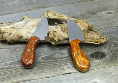 Two wood handled hunting knives resting on log