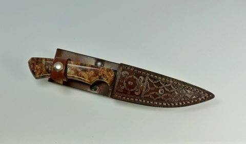 Brown etched knife inside handcrafted leather sheath - F4