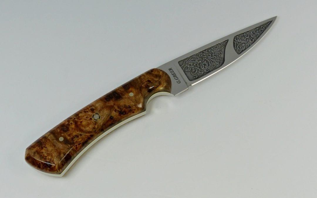 Etched blade with vine pattern on burled elm handled knife - F4