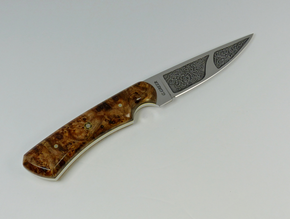 Etched vine blade with burled elm handled knife - F4